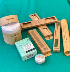 Zero waste products- bamboo toothbrush, cotton buds, spork, sunscreen, soap