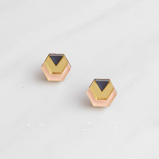 Wolf & Moon Peach Little Hex Studs