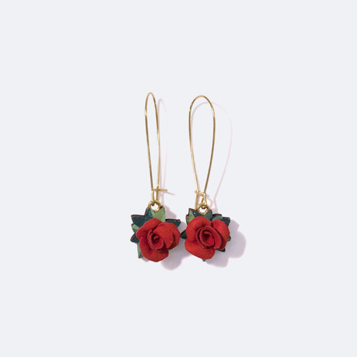 Rosita Bonita Red Posy of Roses Earrings