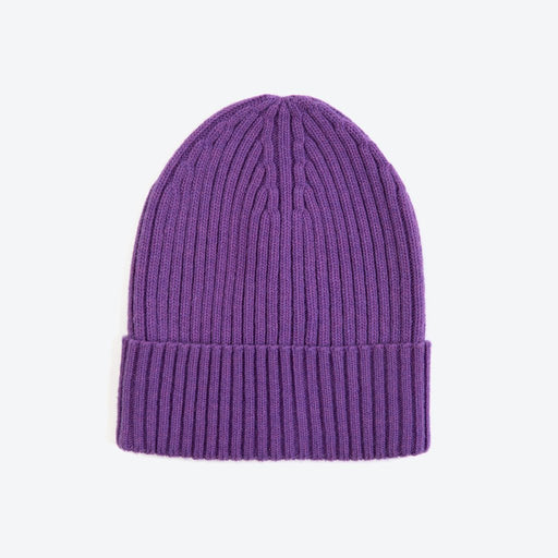 Miss PomPom Lilac Wool-Ribbed Beanie