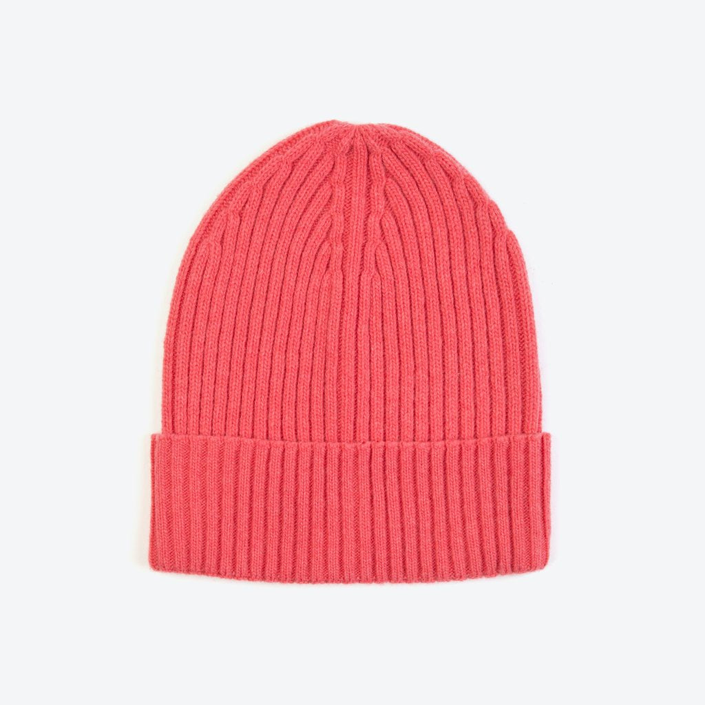 Miss PomPom Pink Wool-Ribbed Beanie