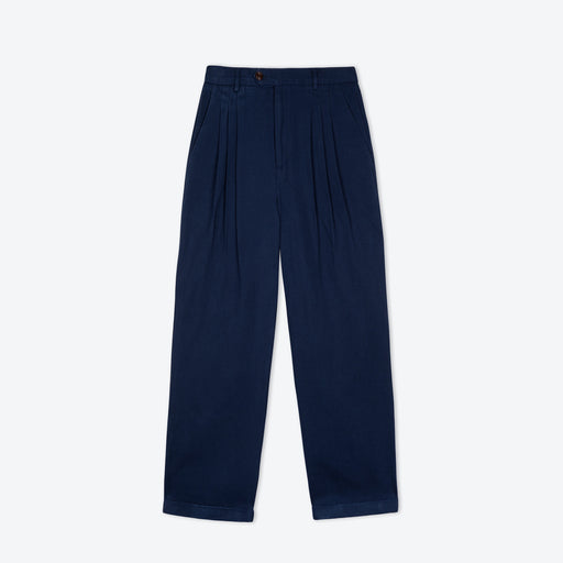 Lowie Navy Drill Wide Leg Trouser