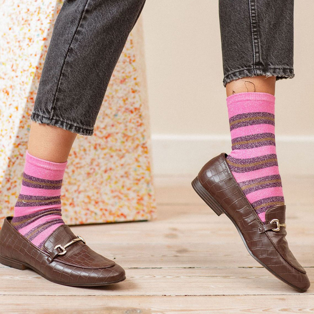 Beck Sondergaard Socks - Dalea Big Stripe Rose Violet