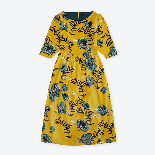 Lowie Yellow Floral Velvet Dress