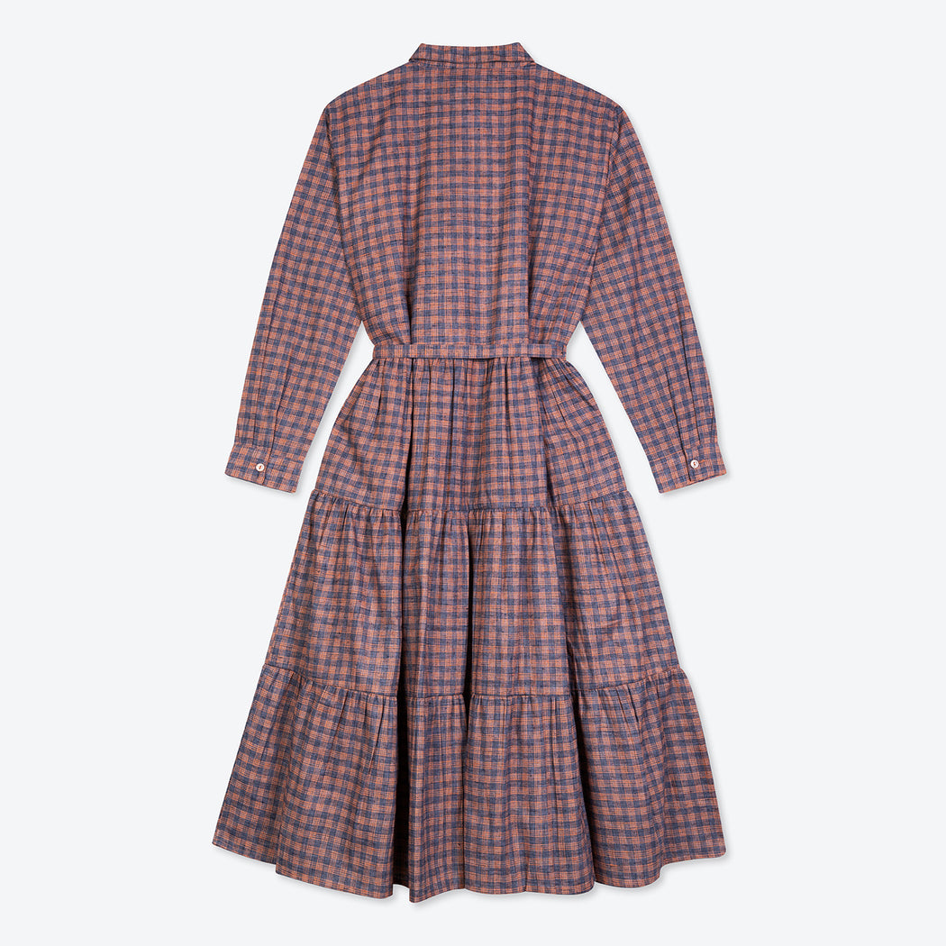 Lowie Orange Check Tiered Midi Dress