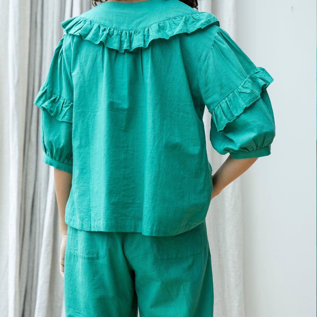 Lowie Green Khadi Ruffle Top