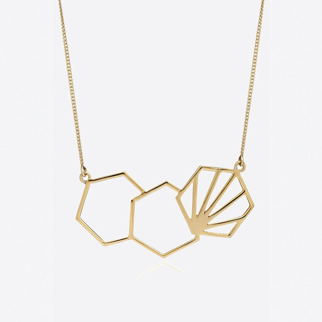 Rachel Jackson Serenity Statement Gold 3 Hexagon Necklace