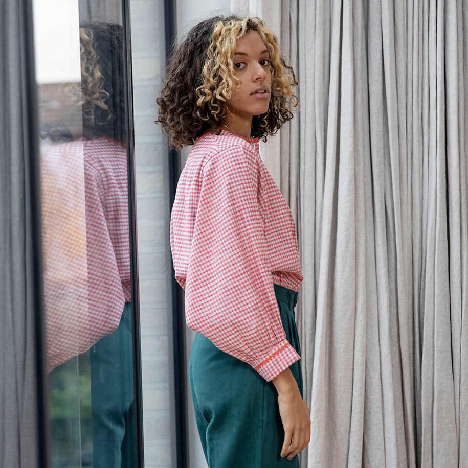 Lowie Pink Gingham Batwing Blouse