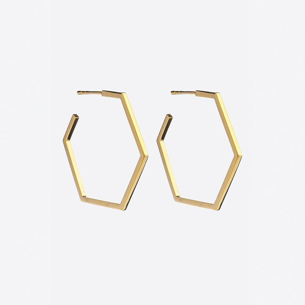 Rachel Jackson Large Gold Hexagon Hoops