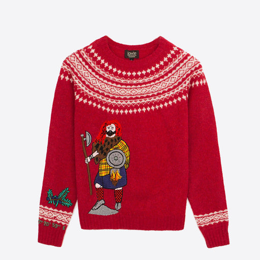 Lowie X Kilometre Embroidered Lambswool Scotland Jumper Red