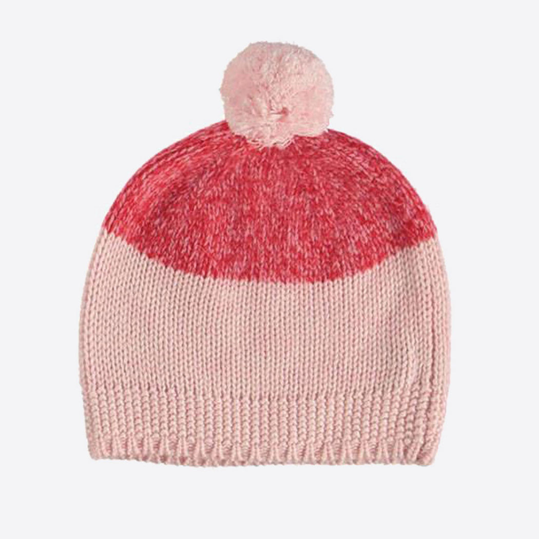 Pink Marl Virgin Wool Two-Tone Bobble Hat by Lowie