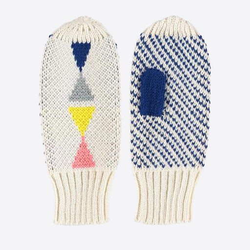 Miss PomPom Cream Triangle Mittens