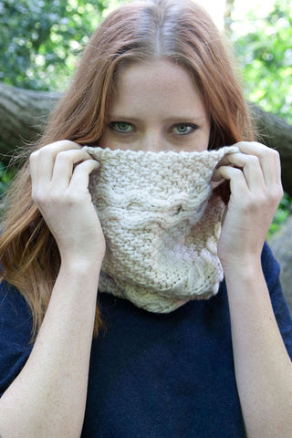 Oatmeal Chunky Merino Snood by Lowie