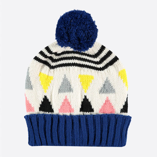 Miss PomPom Cream Triangle Beanie