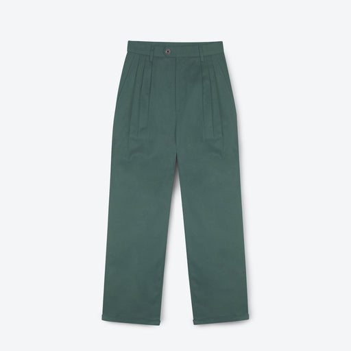 Lowie Green Drill Wide Leg Trouser