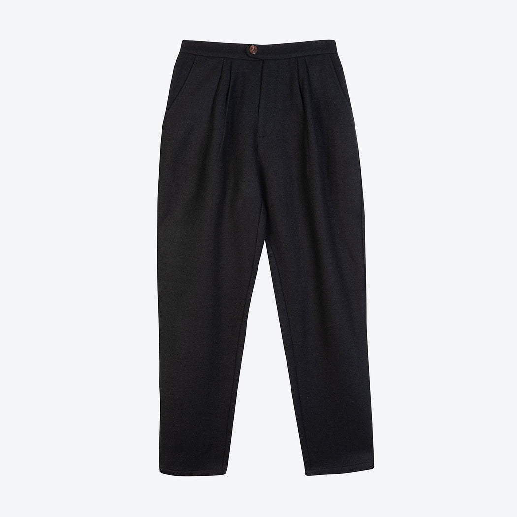 Lowie Black Wool Pleated Trousers