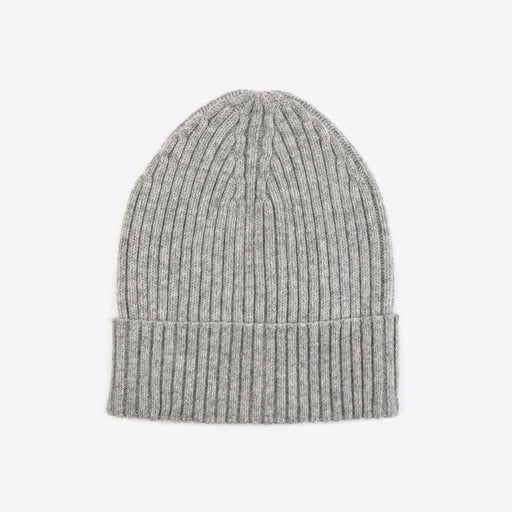 Miss PomPom Grey Wool-Ribbed Beanie