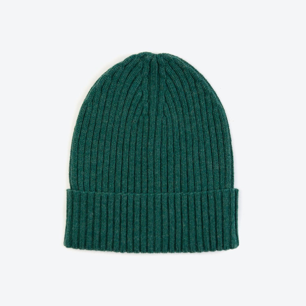 Miss PomPom Green Wool-Ribbed Beanie
