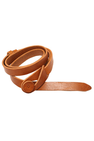 Tan Leather Button Belt by Lowie