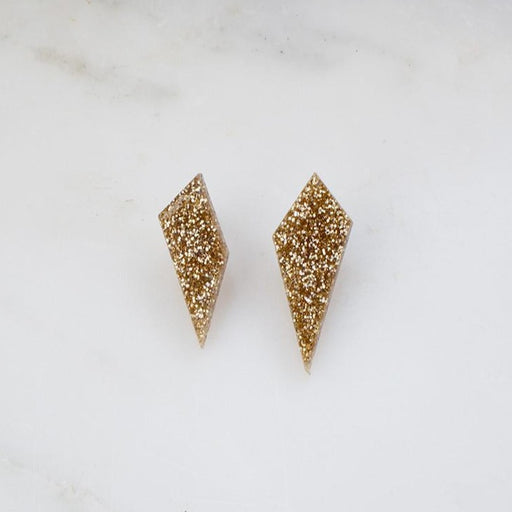 Wolf & Moon Gold Glitter Shard Studs