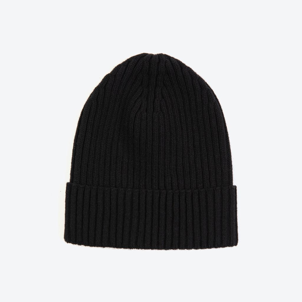 Miss PomPom Black Wool-Ribbed Beanie