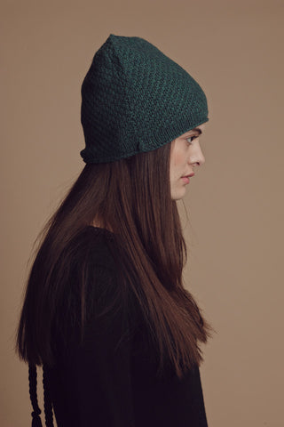 Rolled Hem Cashmere Blend Beanie in Forest Green