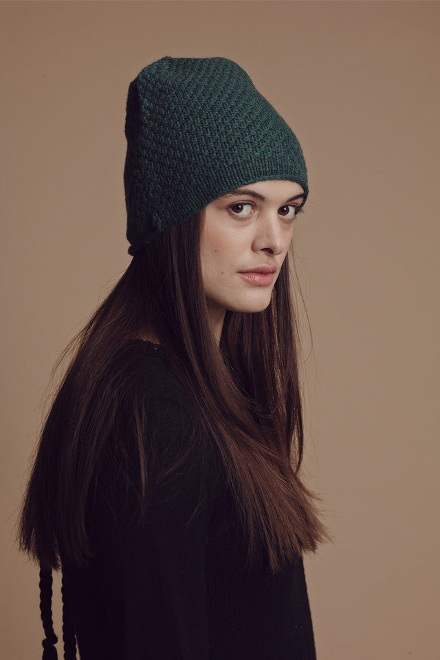 Lowie  Forest Green Rolled Hem Cashmere Blend Beanie