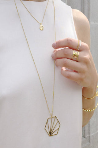Rachel Jackson Gold Hexagon Necklace Long Length