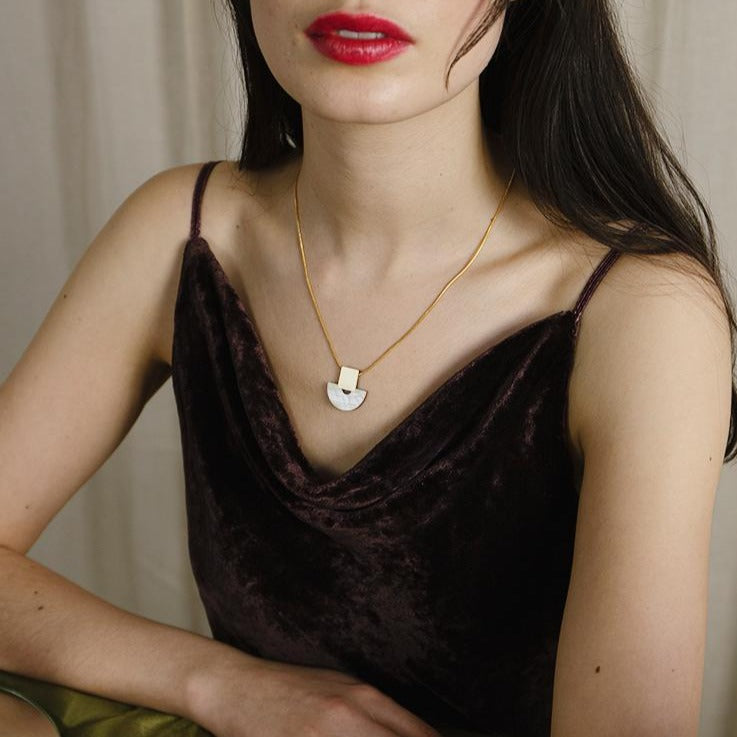 Wolf & Moon Mother Of Pearl Marina Necklace