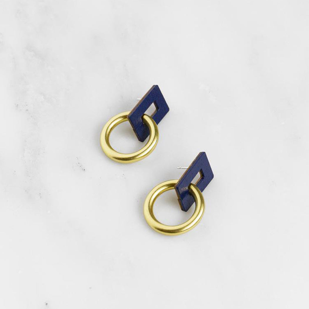 Wolf & Moon Mini Etta Earrings in Midnight Blue
