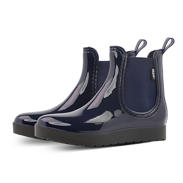 Rain Booties Woman Navy Elastic