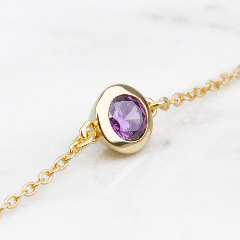 Iconic Gold Zirconia Purple Bracelet