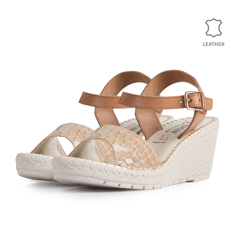 Wedge Gavi Beige Coco Leather