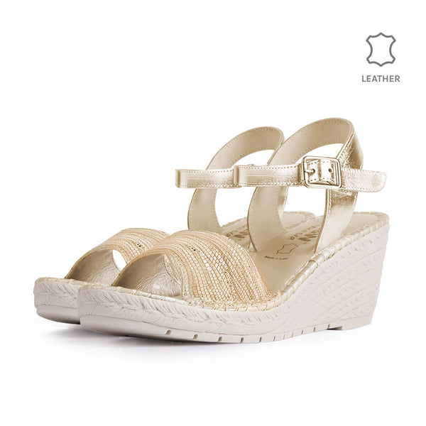 Wedge Gavi Beige Metal Leather