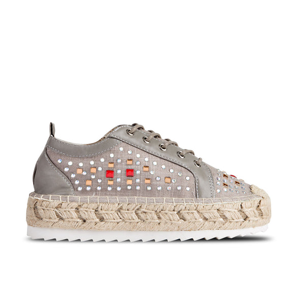 Sporty Espadrilles Kea Grey Strass