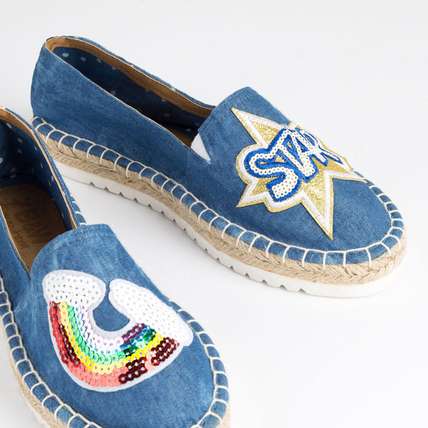 Espadrilles Kea Blue Jean Sequin Patches