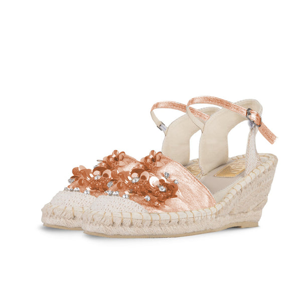 Wedge Shoe Espadrilles Topi Metal Rose Gold