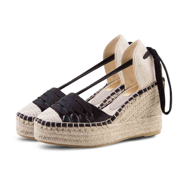 Wedge Shoe Espardrilles Elba Metal Black