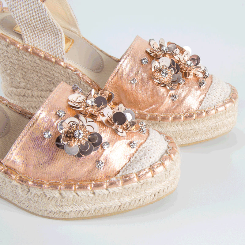Wedge Shoe Espadrilles Elba Metal Gold