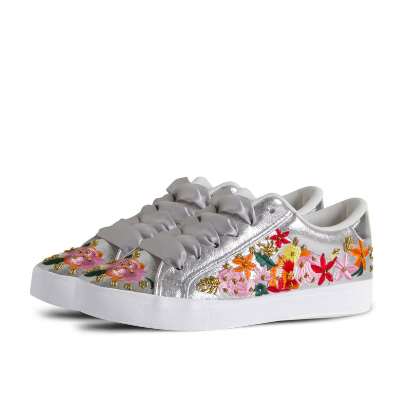 Sneakers Bloom Embroidery Silver