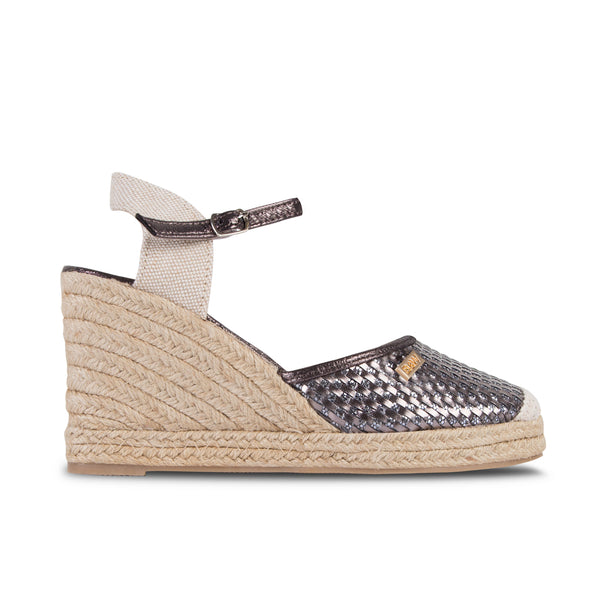 Wedge Shoe Espadrilles Capri Plaited Metal