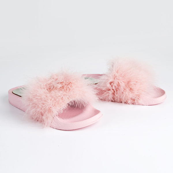 Feathers Flat Slide Sandals Pink