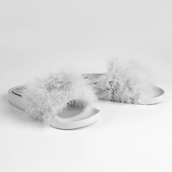 Feathers Flat Slide Sandals Silver