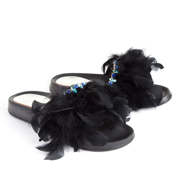 Feathers Crystals Flat Slide Sandals Black