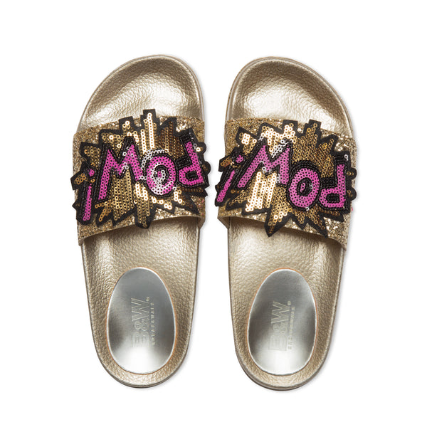 Sequins Flat Slide Sandals Gold