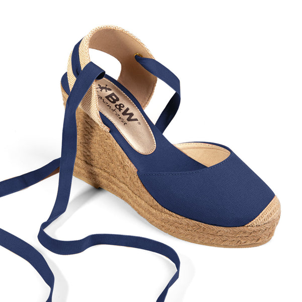Wedge Shoe Espadrilles Capri Navy Bow