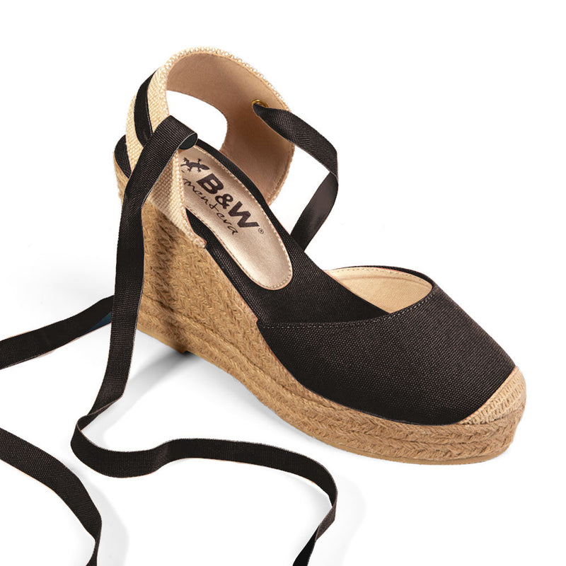 Wedge Shoe Espadrilles Capri Black Bow