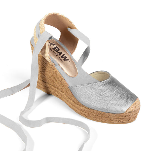 Wedge Shoe Espadrilles Capri Metal Silver