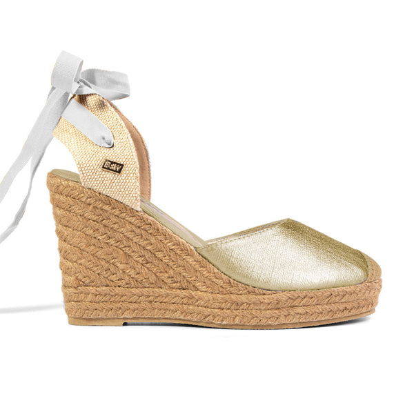Wedge Shoe Espadrilles Capri Metal Gold