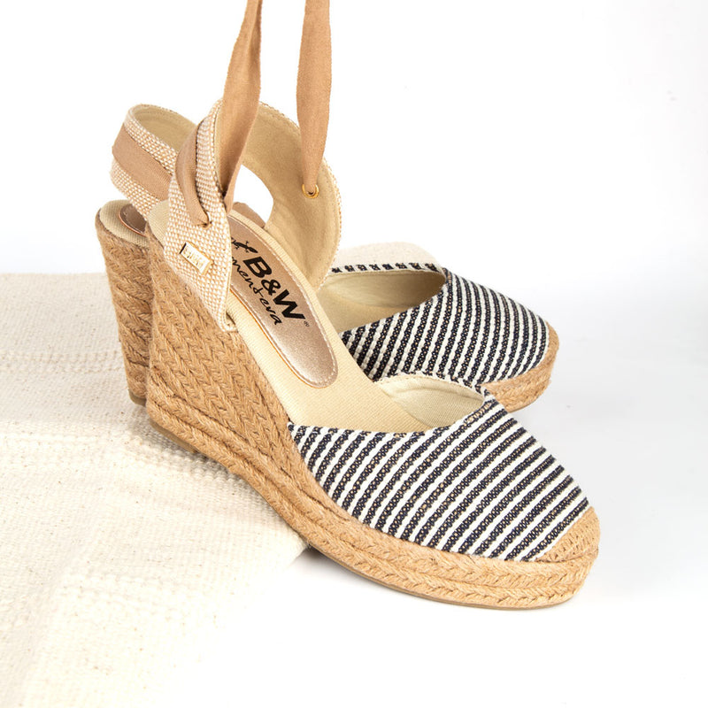 Wedge Shoe Espadrilles Capri Navy Stripes